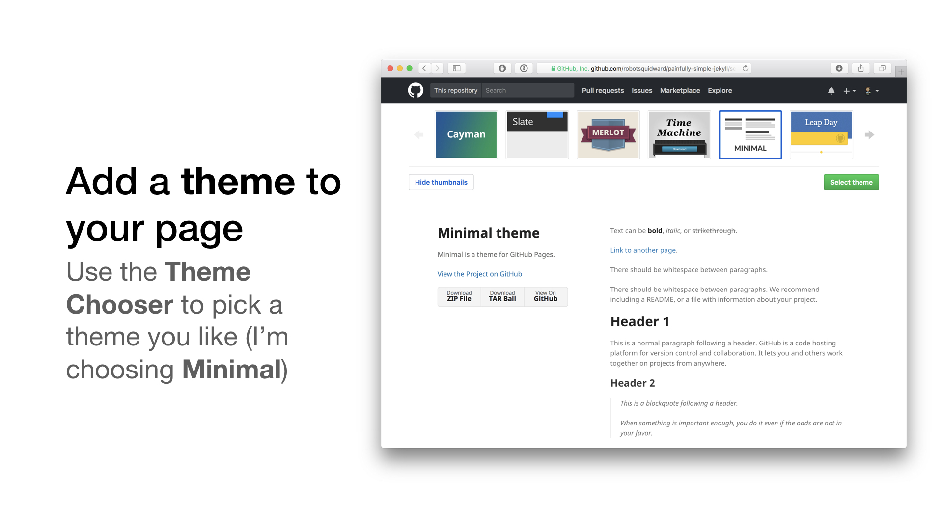 add a github pages theme to your website using the minimal theme