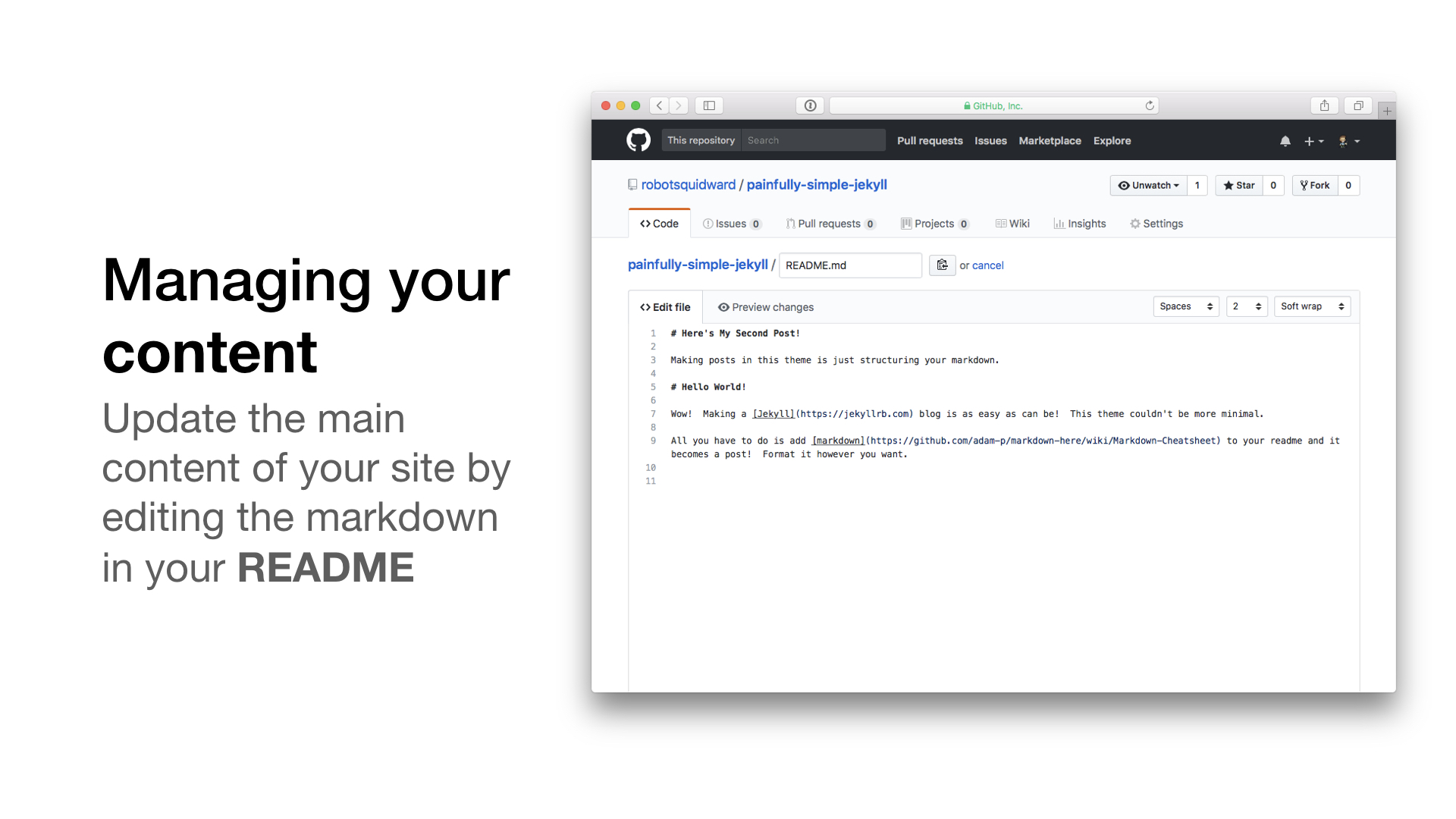 edit your readme markdown to be rendered in html