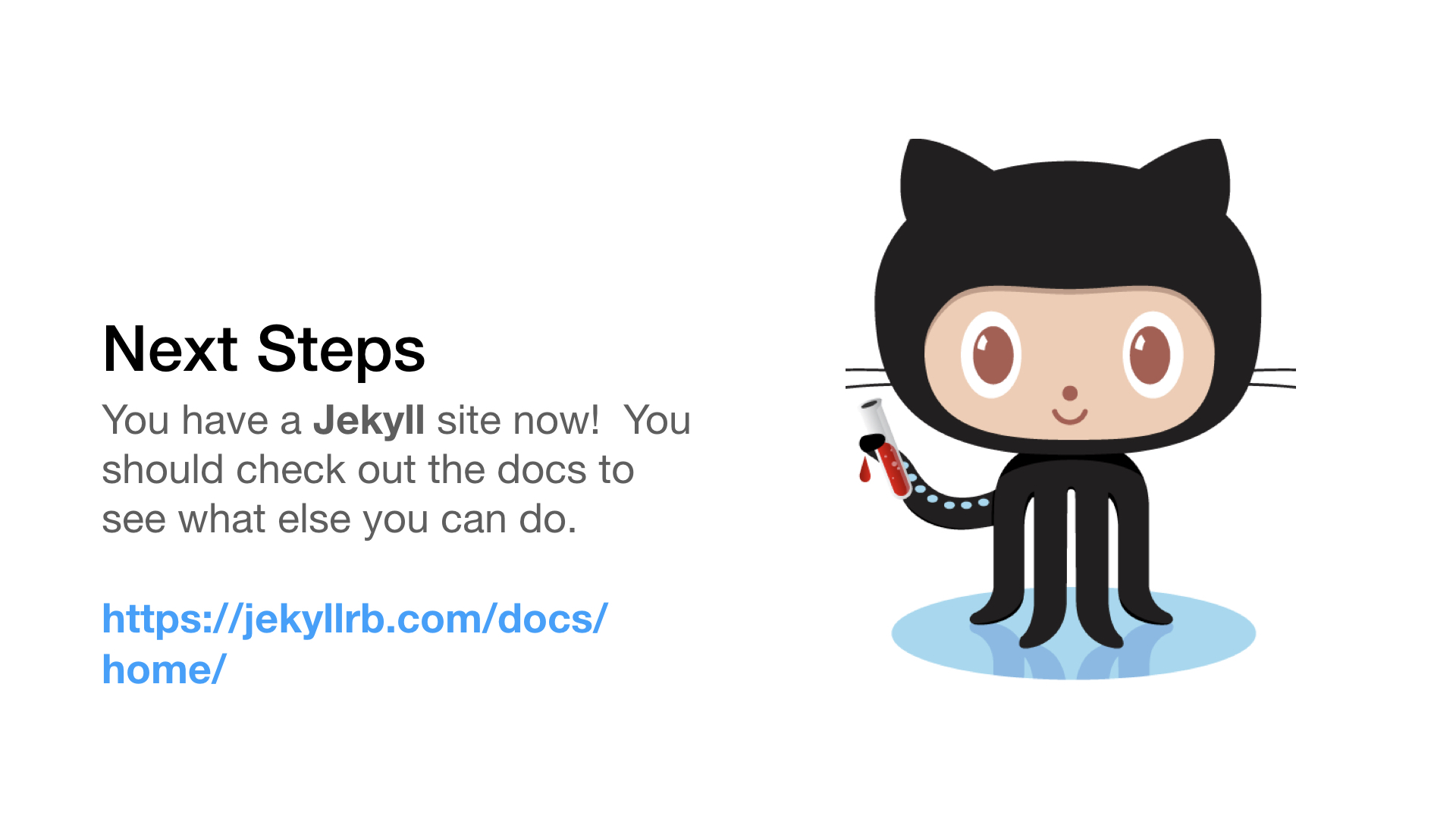 jekyll docs next step with octocat